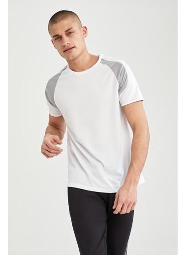 DeFacto Slim Fit Bisiklet Yaka Spor Tişört Beyaz